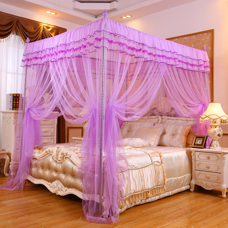 {Byetee} Princess Bed Nets Three Door Princess Mosquito Nets Square Top Bedding Net with Stainless Steel Frame Curtain