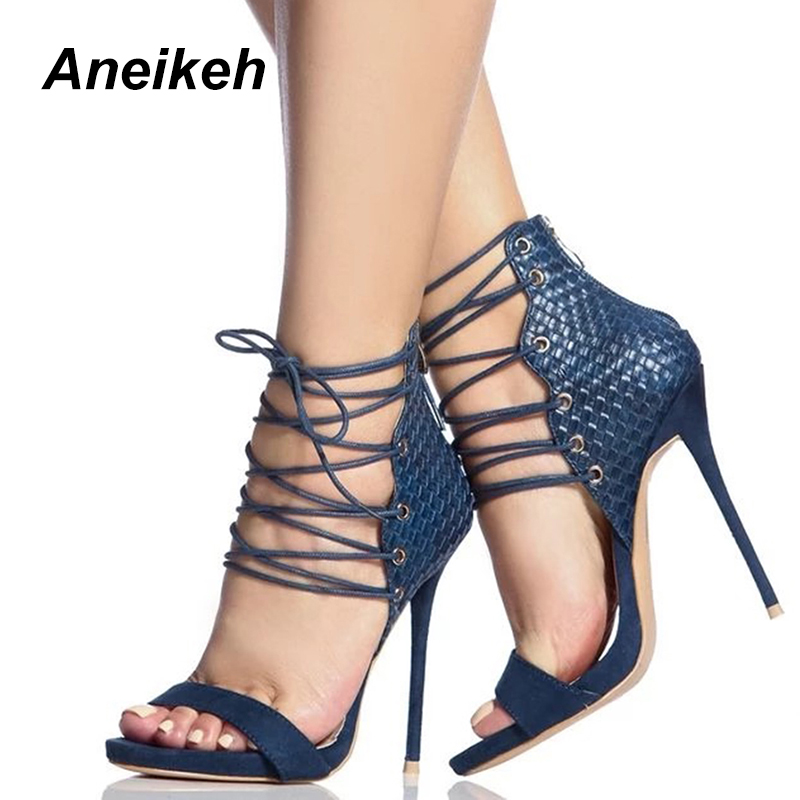 Aneikeh Summer Sandals 2018 Sexy Women Cross Strap Lace Up Open Toe Zip Back Stiletto Heels High Heel Party Shoes Black/Blue black sequins embellished open back lace up top