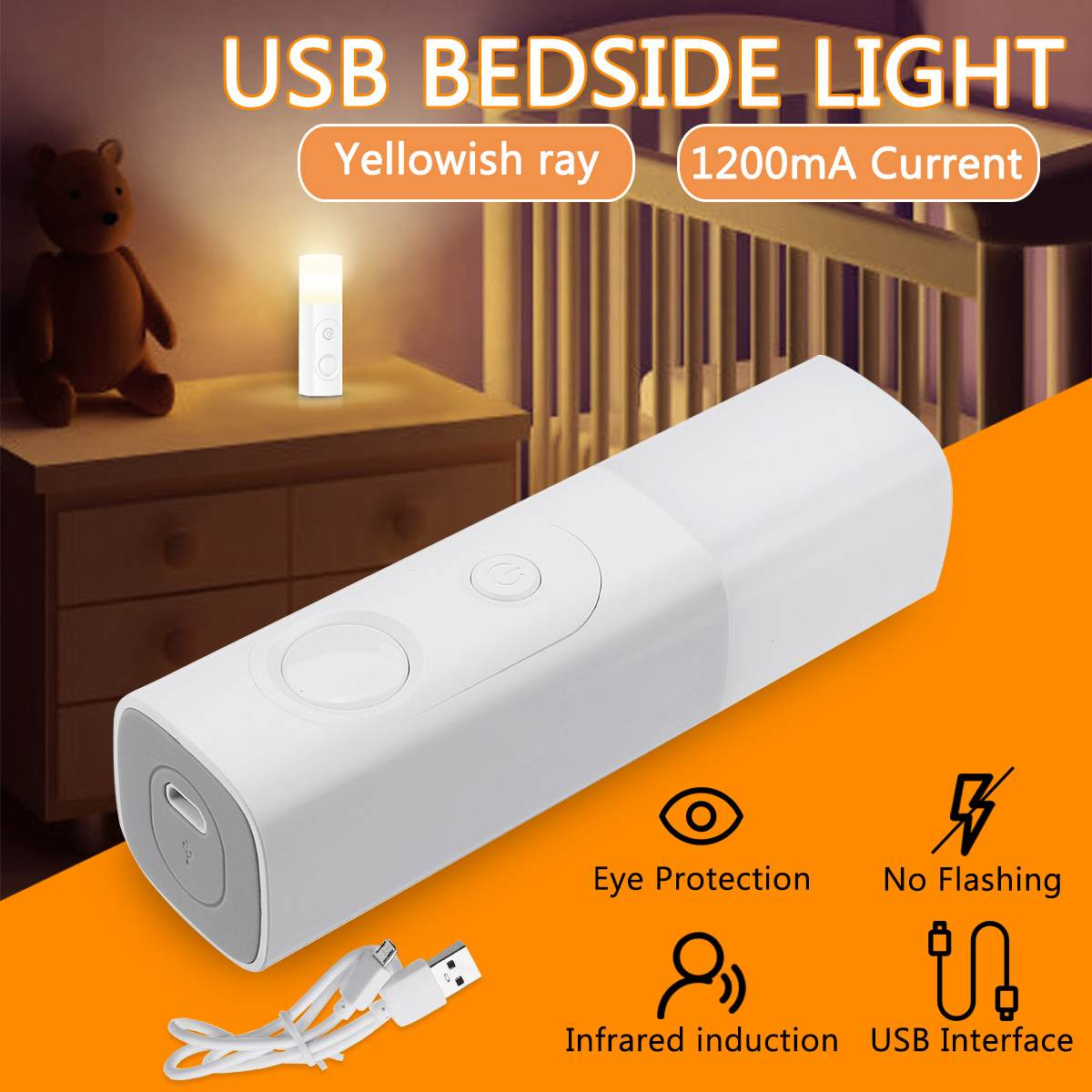 Portable Eye Protection Charging Induction Night Light LED Flexible USB Reading Light Clip-on Bedside Table Desk Lamp 1200mA