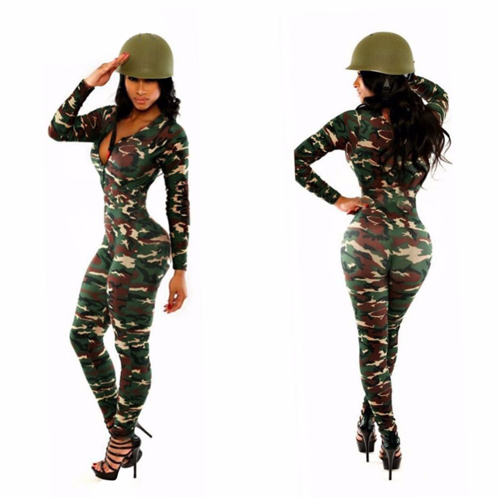 65ac67d86903 MOONIGHT Camouflage Jumpsuit Romper Fitness Slim Bodysuit Women Romper  Stretchy Bodysuit Overalls Rompers Womens Jumpsuit-in Jumpsuits from Women s  Clothing ...