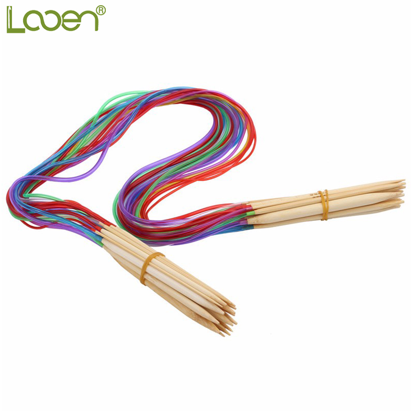 "Nou Multi-color 2.0mm-10mm 18pcs / set 32 ​​""80cm Eco-Friendly Double Point Bambus Ace de tricotat annular Artizanat Set de instrumente de fire"