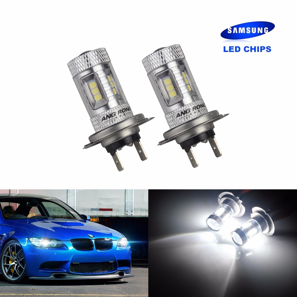ANGRONG 2x H7 499 Bulb SAMSUNG High Power 15W LED HeadLight Main Fog Light White(CA205x2)