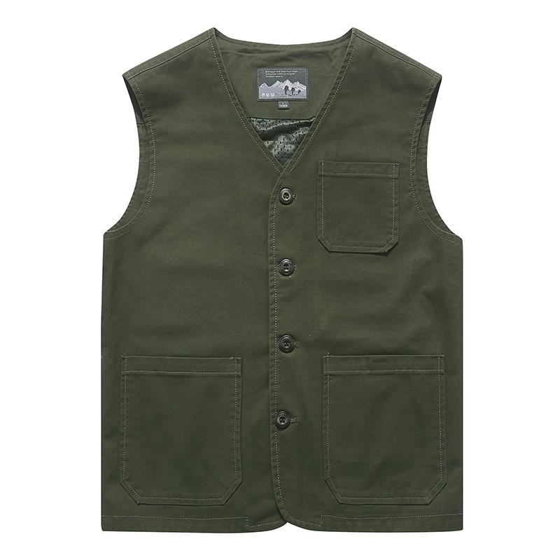 Spring 2019 New Vest Men Casual Cotton Breathable Mens Waistcoat Plus Size M-7XL 8XL Multi-pockets Collarless Summer Mens Vest