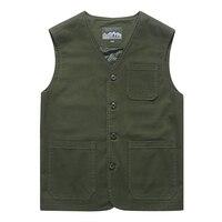 Spring 2019 New Vest Men Casual Cotton Breathable Mens Waistcoat Plus Size M 7XL 8XL Multi pockets Collarless Summer Mens Vest