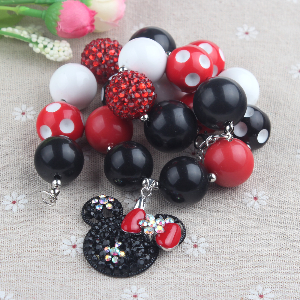 Kids Love Rhinestone Alloy Mic.key Mouse Head Pendant Chokers Necklace Shambhela Chunky Bead Bubblegum Girls Jewelry ChainWX1652