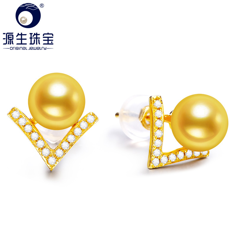 YS 5-5.5mm Natural Akoya Saltwater Pearl 18k Gold Fashion Earrings Stud For Women измеритель величины тока yongsheng ys 50 dc300a ampmeter 5 x 5 x 1 300a 75mv 2 5 ys 50 dc 300a