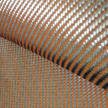 200gsm 1100D Orange Kevlar & 3K Carbon fiber mixed Fabric 2x2 Twill cloth Aramid