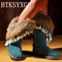 BTKSYXGS 2017 Luxury Natural Real Large Fox Fur Snow Boots Women S Boots 100 Genuine Leather