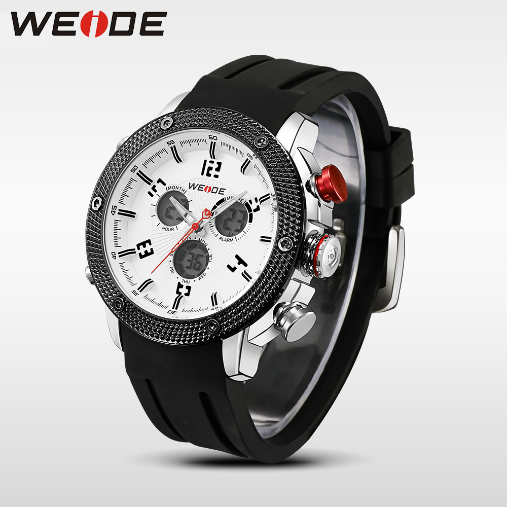 WEIDE Casual genuin  Brand  Watch Men Sport Style Japan Quartz Digital Move't Silicone Waterproof Wristwatch Multiple Time Zone watch men led digital waterproof wristwatch casual man sport watches 2017 new weide famous brand saat erkekler horloges mannen