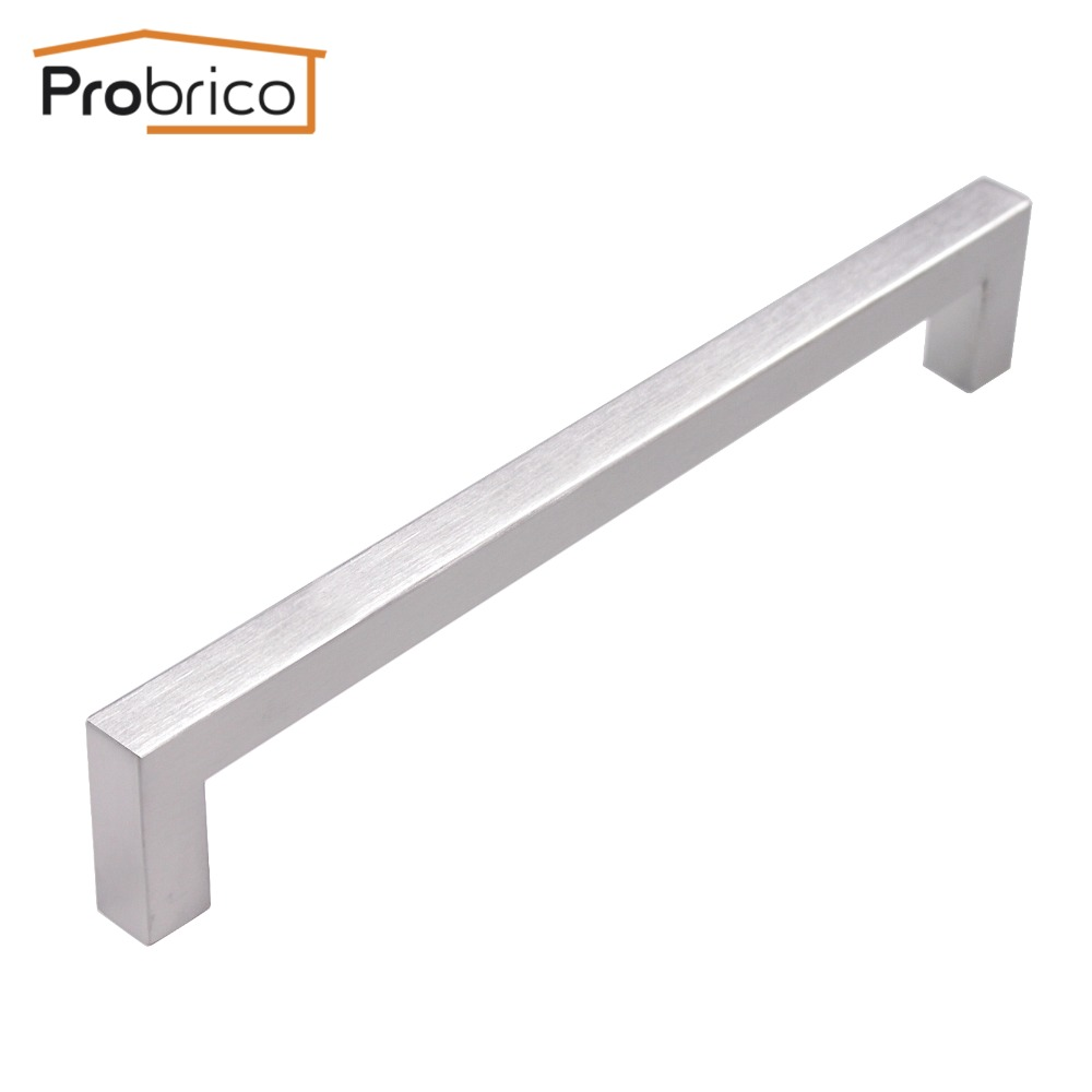 Probrico 12mm*12mm Square Bar Handle Stainless Steel Hole Spacing 192mm Cabinet Door Knob Furniture Drawer Pull PDDJ27HSS192 2pcs set stainless steel 90 degree self closing cabinet closet door hinges home roomfurniture hardware accessories supply
