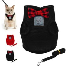 Mesh Bowtie Cat Harness and Leash Breathable Kitten Cat Clothes Small Dog Puppy Walking Running Harnesses Pet Product Supplies(China)