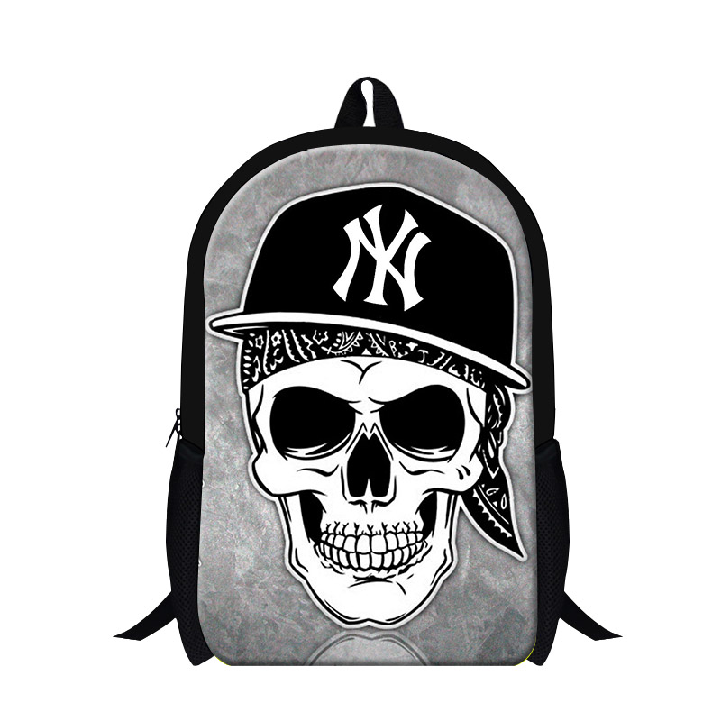 Print Backpack School-Bag Cool Personality Children Student's Casual Punk Ghost Skull
