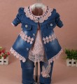 new 201 spring girls flower denim jacket+t shirt+pant clothing sets 3pcs kids clothes sets girls casual suit baby girl jeans