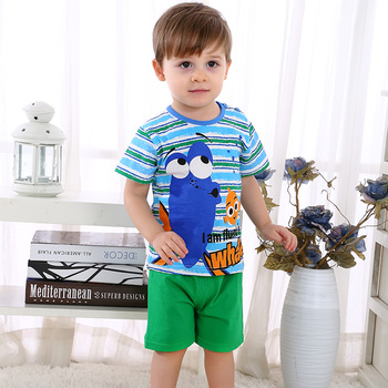 2019 New summer baby costume fashion cartoon print baby boys & girls clothes sets cotton 0-2Y clothing sets for baby boys girls 5