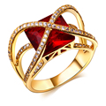 Latest Design Fashion Elegant Women Classic Red Big Stone Ring Gold Color Plated Cubic Zirconia Lead Free Luxury Rings Jewellery
