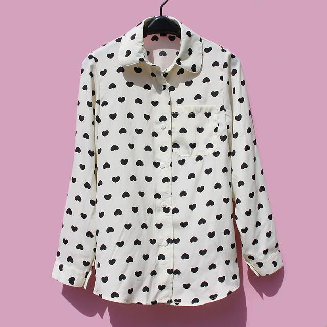 Mujer Dulce De Corazón Tops Gasa Amor Camisetas La Moda Blusas Camiseta  Mujeres pgwtfnqaa 374fc1799c24