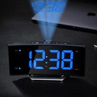 Arc Led Alarme De Projection Horloge Moderne Décoration De Bureau Horloge Étudiant De Chevet Snooze FM Radio Réveil Ajuster Luminosité