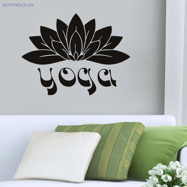 Custom Color Wall Stickers Home Decor Yoga Lotus Flowers Vinyl ...