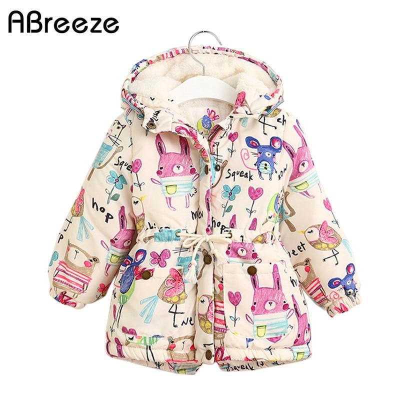 New Autumn Winter children jackets For Girls 1 7T Graffiti Parkas Hooded coats Baby Girls Warm Outerwear kids Clothing babyDown & Parkas   -