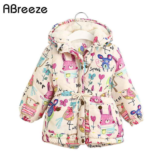 New Autumn Winter children jackets For Girls 1 7T Graffiti Parkas Hooded coats Baby Girls Warm Outerwear kids Clothing baby
