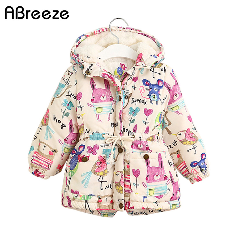 New Autumn Winter children jackets For Girls 1-7T Graffiti   Parkas   Hooded coats Baby Girls Warm Outerwear kids Clothing baby