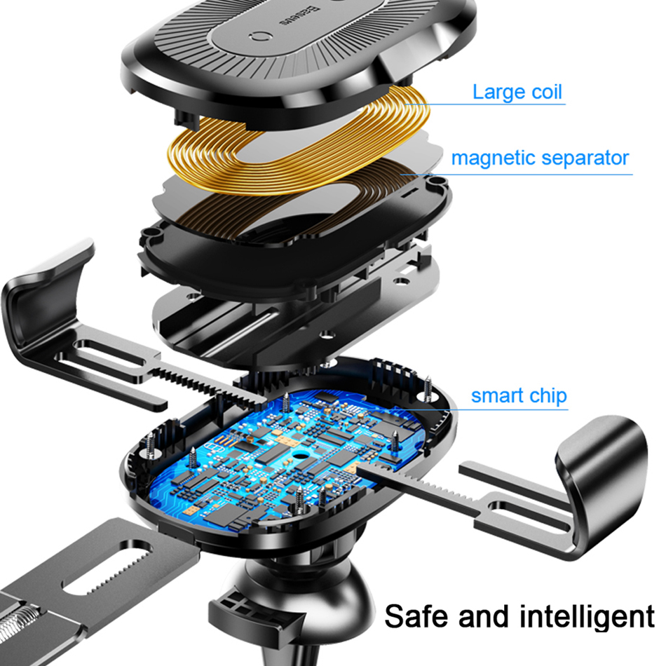 Baseus QI 10W Wireless Charger Car Holder for mobile phone in car iphone X Samsung Galaxy S9 Quick Charge Car Mount Phone Stand in Car Chargers from Cellphones Telecommunications