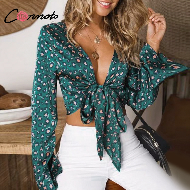 Conmoto Sexy Leopard Print   Blouse   Top Women Bowtie Long Sleeve Satin Ladies Tops 2019 Lace up Crop   Blouse     Shirt   Blusa Mujer