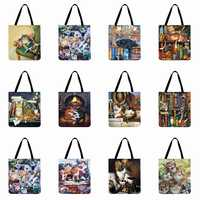 Fashion Shopping Bag Linen Reusable Tote Bag For Women Oil Painting Cat Printed Shoulder Bag Outside Beach Bag Casual Tote