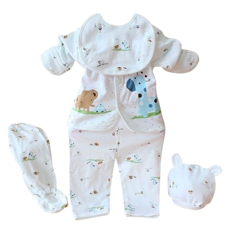 Newborn Baby Boy Girl 5 Pcs Clothing Set Cotton Cartoon Monk Tops Pants Bib Hats Infant Clothes 0-3 Months