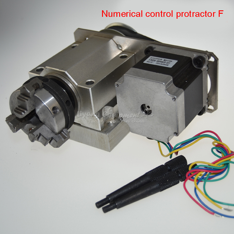 Engraver CNC protractor the fourth axis dividing head (A axis rotating shaft) F type 50mm 3 jaw chuck C00317 cnc 5 axis a aixs rotary axis three jaw chuck type for cnc router