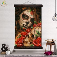 Cute Skulls Colorfull Single Framed Scroll Painting Modern Canvas Art Prints Poster Wall  Artwork Pictures Hom