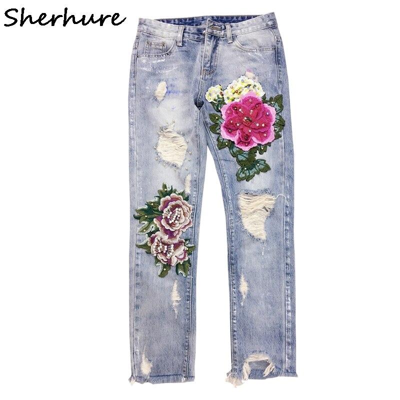 Sherhure 2018 déchiré Jeans pour femmes 3D fleur paillettes perle Denim Jeans pantalons jeans d'été Denim Jeans pantalon Femme