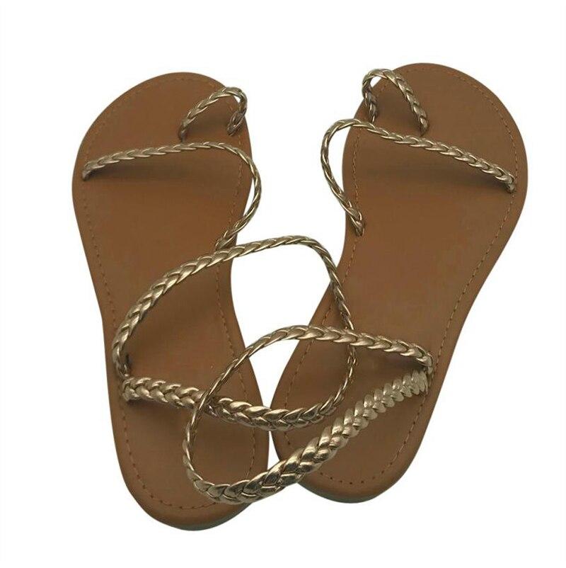 HTB19htAkDCWBKNjSZFtq6yC3FXaL MCCKLE Plus Size Thong Sandals Summer Women Flip Flops Weaving Casual Beach Flat With Shoes Rome Style Female Sandal Low Heels