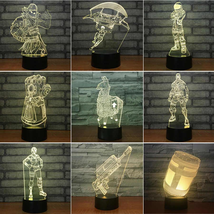 3D Acrylic Ảo Ảnh Đèn LED 7 Màu Cảm Ứng/Điều Khiển từ xa Bàn Để Bàn Phòng Bầu Không Khí Chiếu Sáng Người Hâm Mộ Trò Chơi Quà Tặng mọi Loại Da