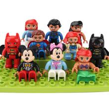 Big Size klocki Mickey Minnie Batman Supermen postacie z kreskówek kompatybilne z Duplos cegły zabawki prezenty dla dzieci tanie tanio Bloki Z tworzywa sztucznego Samozamykajcy cegły 3 lat Mickey Minnie duplo Unisex