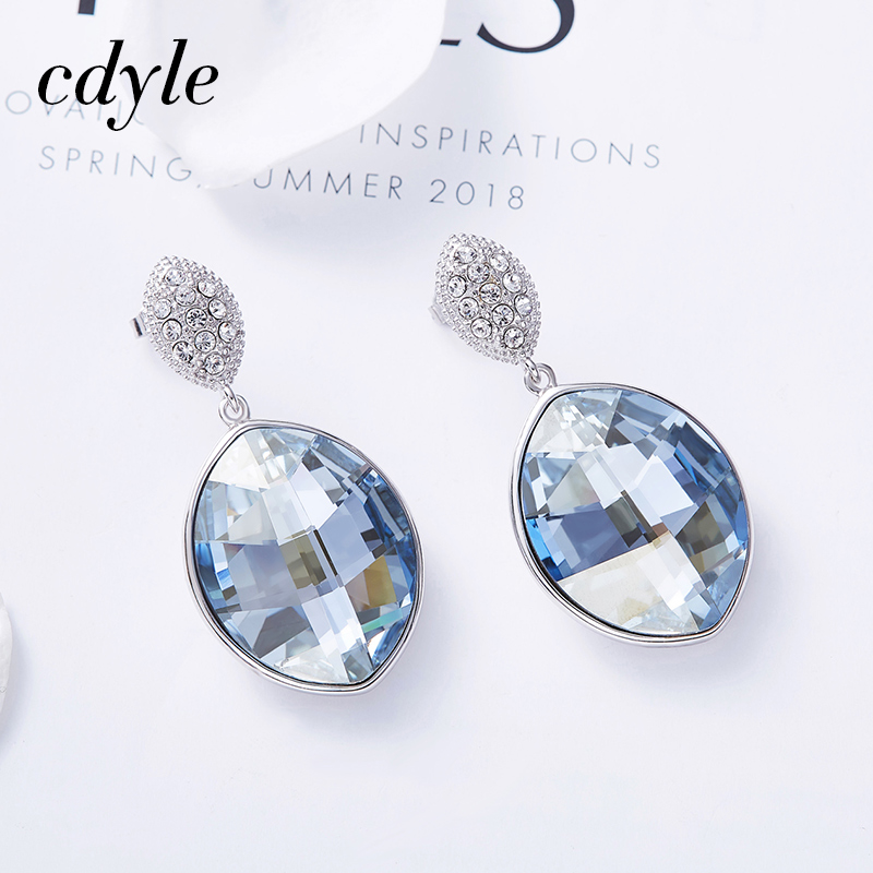 Cdyle 925 Sterling Silver kolczyki ślubne ozdobione kryształ spadek kolczyki kropla wody Boucles d'oreilles w Kolczyki wiszące od Biżuteria i akcesoria na  Grupa 3