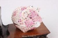 Shiny Pig Jewelry Trinket Box Bejeweled Figurine Crystals Piggy Metal Trinket Box Girls Dream Treasure Box
