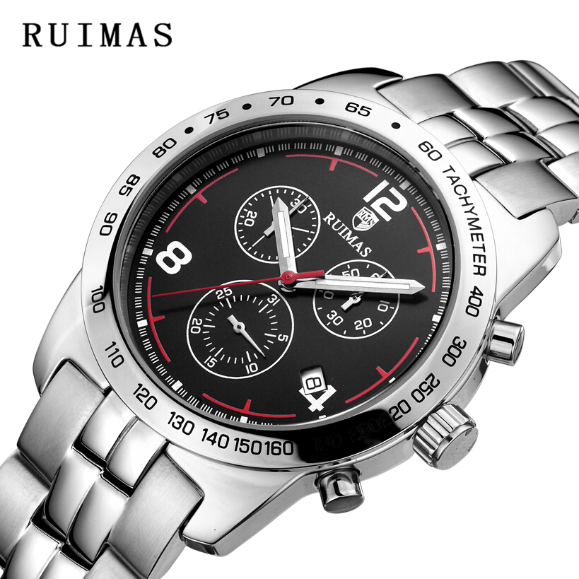 RUIMAS Relojes de pulsera de cuarzo Marca Hombres negros Relojes de - Relojes para hombres