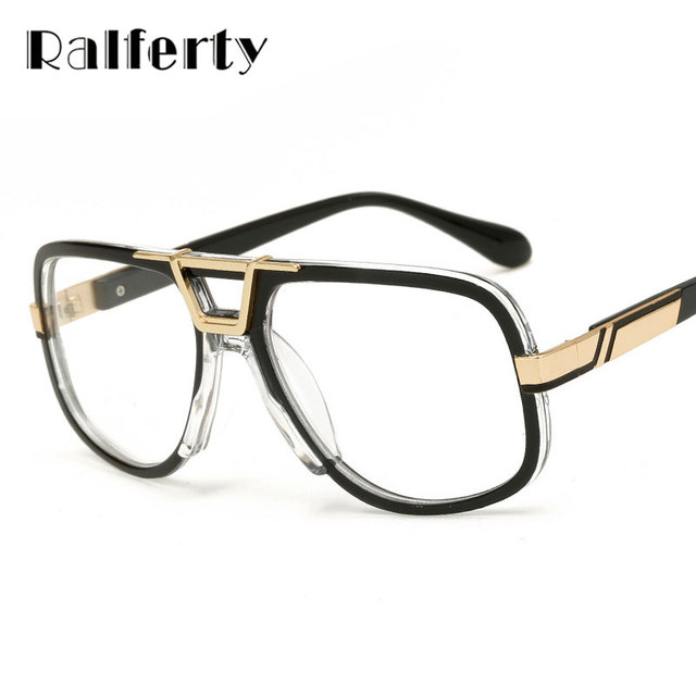 4ce46ea1d6 Ralferty Oversized Transparent Glasses Vintage Sunglasses Men Clear Eyeglass  Women Retro Gold Frame Gradient Goggles Oculo