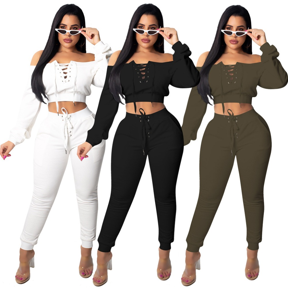 Sexy design lace up tracksuit women set winter long sleeve 2 pieces outfits for women solid women set 6138