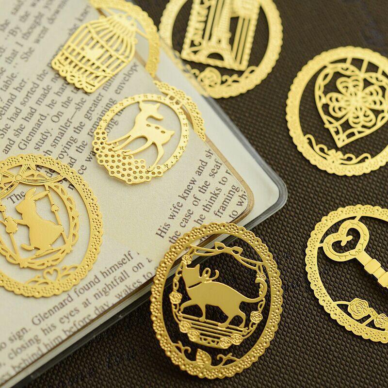 10pcs/Lot Gold Leaf Metal Bookmarks For Book Marker Holder Vintage Marcadores De Livro Office Supply Material School