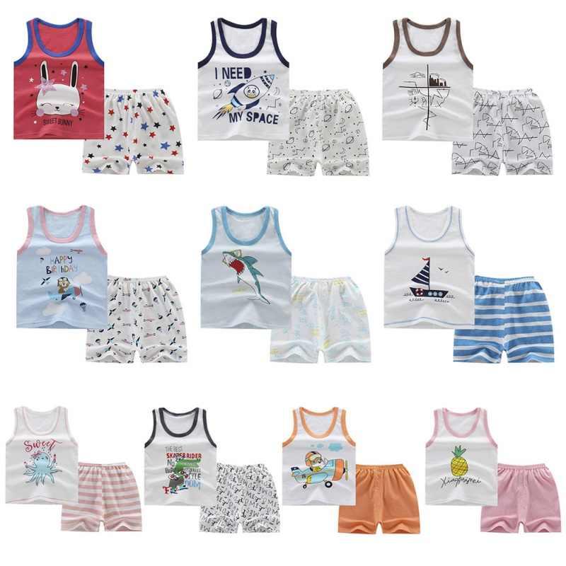 ملابس الأطفال 2019 الصيف الاطفال الفتيات سترة دون أكمام تي شيرت كامل السراويل ملابس غير رسمية الدعاوى طفل الفتيان مجموعة ملابس