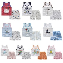 Children's Clothes 2019 Summer Kids Girls Sleeveless Vest Top T-Shirt + Shorts Casual Outfits Suits Toddler Boys Clothing Sets недорого