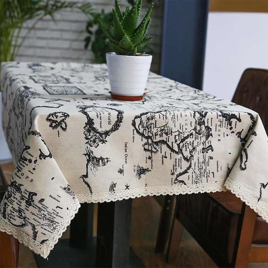 Cotton linen table cloth country style map printed multifunctional name quality linen tablecloth fabric cotton and linen style map tower technology environmental printing and dyeing features select high quality gumiabroncs Choice Image