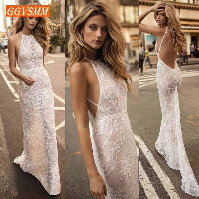 Sexy Ivory Lace Mermaid Long Evening Dresses 2019 Evening Gowns Women Party Sleeveless Backless Floor Length Lady bodycon Dress