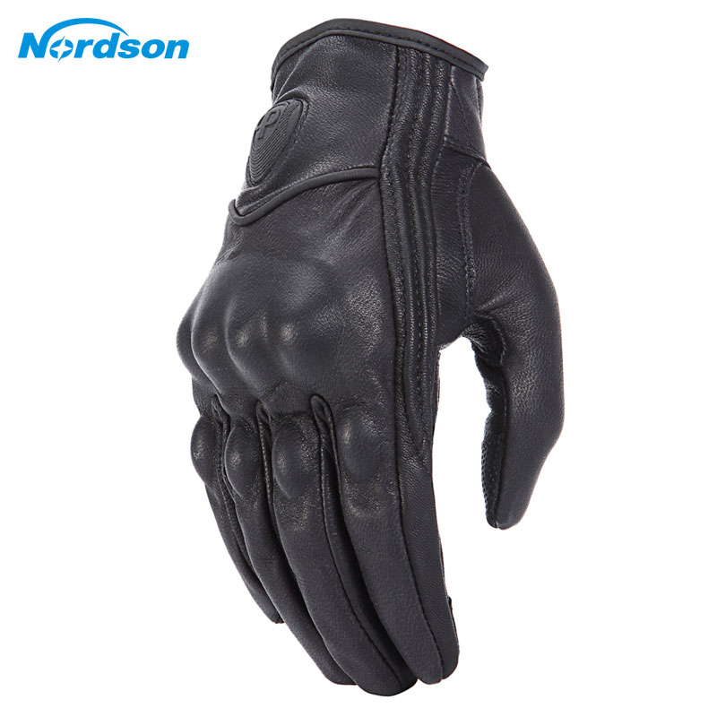 Nordson Retro Motorcycle Gloves Leather Winter Full Finger Waterproof Men Women Motocross Gloves Protective Gears Moto Glove-in Gloves from Automobiles & Motorcycles