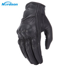 Купить с кэшбэком Nordson Retro Motorcycle Gloves Leather Winter Full Finger Waterproof Men Women Motocross Gloves Protective Gears Moto Glove