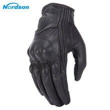 Мотоциклетные Перчатки Nordson, Водонепроницаемые кожаные, с закрытыми пальцами, в стиле ретро, для мужчин и женщин, защитное снаряжение