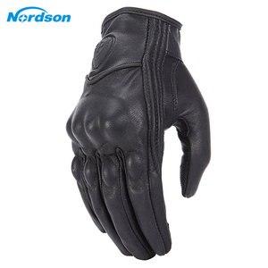 Image 1 - Мотоциклетные Перчатки Nordson, Водонепроницаемые кожаные, с закрытыми пальцами, в стиле ретро, для мужчин и женщин, защитное снаряжение