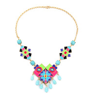 Pretty Girl Enamel Colorful Statement Necklace Online Shopping India New Design Women Jewelry